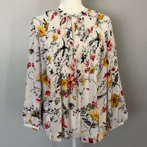 Old Navy Floral Pintuck Popover Peasant Top - M